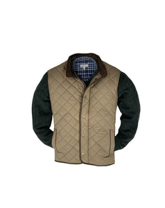 Peter Millar Essex Quilted Travel Vest-Taupe