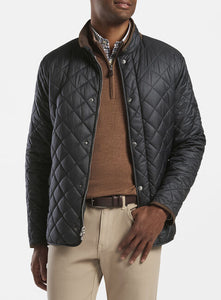 Peter Millar Suffolk Quilted Travel Coat-Black