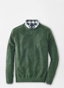 Peter Millar Wool Interlock Crewneck-Green