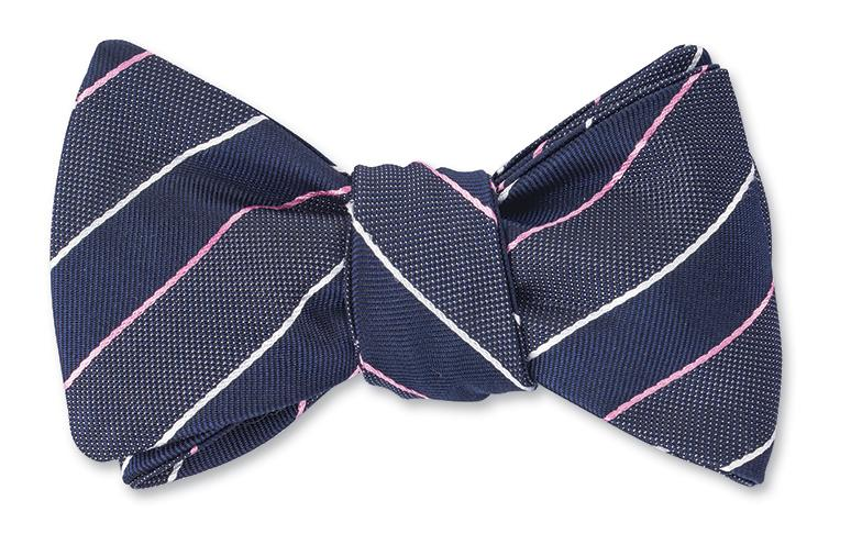 R. Hanauer Gray/Navy/Pink Nighthawk Stripes Bow Tie