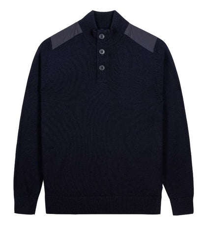 Alan Paine Dunsmore Men's 1/4 Placket Mock Neck Jumper-Navy