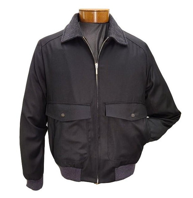 St. Croix Black Wool Bomber Jacket