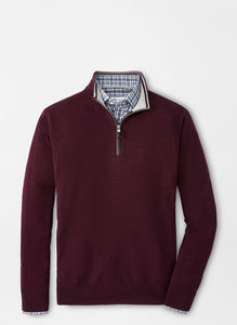 Peter Millar Crown Soft Nappa Trim Quarter-Zip-Currant