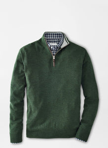 Peter Millar Crown Soft Nappa Trim Quarter-Zip-Green