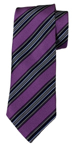 JZ RICHARDS Purple Tie with Multi-Colored Stripes