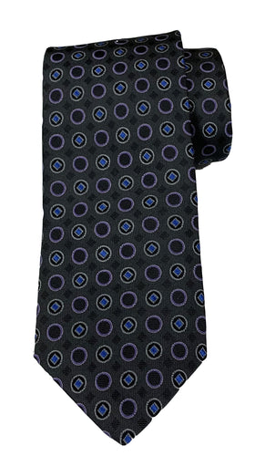 JZ RICHARDS Grey Tie with Circle Pattern