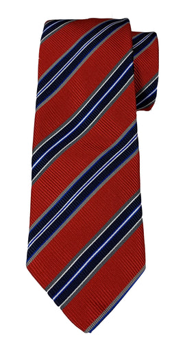 JZ RICHARDS Red Tie with Multi-Colored Stripes
