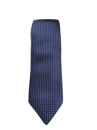 JZ RICHARDS Navy Blue Tie with Cross Stitching