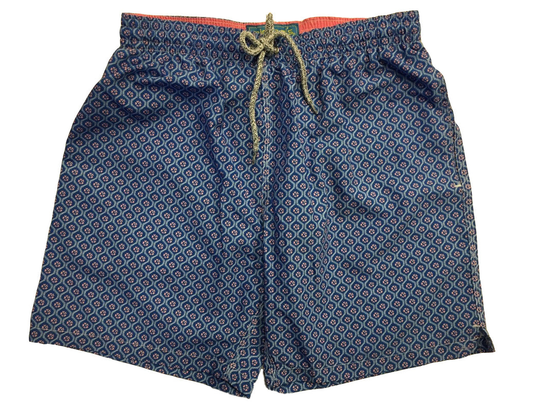Michael's Floral Swim Trunks-Navy