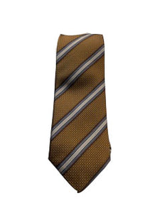 Canali Brown and White Stripe-Gold | Regular Length