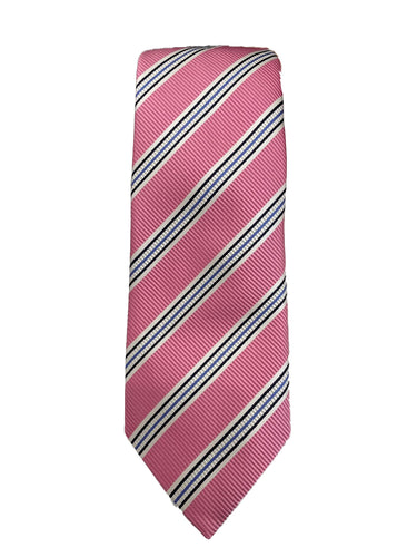 JZ RICHARDS Pink Tie with Multi-Colored Stripes