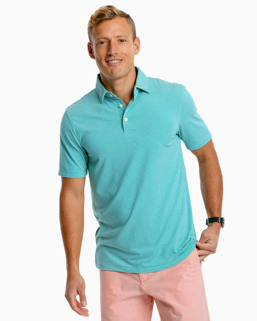 Southern Tide Ryder Heather Stripe Performance Polo Shirt