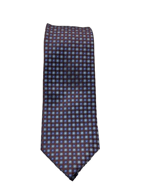 Canali-Burgundy Tie with Blue & White Woven Circles (X-Long)