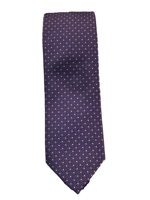 Canali-Purple Tie with Small White Bow Pattern (X-Long)