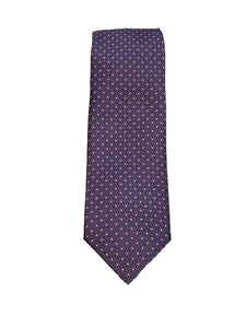 Canali- Purple Tie with Small White Box Pattern