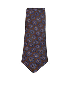Canali- Orange/Brown Tie with Navy Medallions