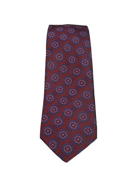 Canali- Red Tie with Navy Medallions