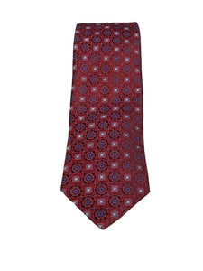 Canali- Red Tie with Navy & White Floral Neat Pattern
