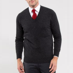 Alan Paine Haddington Cashmere V-Neck Jumper-Carcoal
