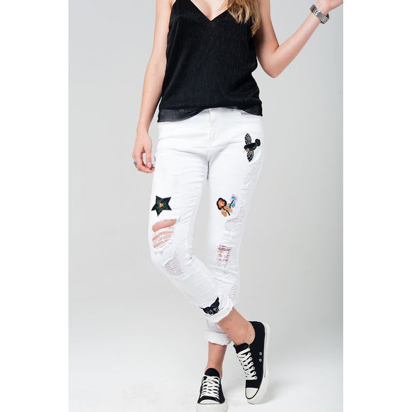 White boyfriend jeans with embroidered details - VIVAO