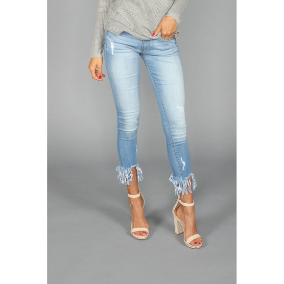Cropped Frayed Denim Jeans - VIVAO
