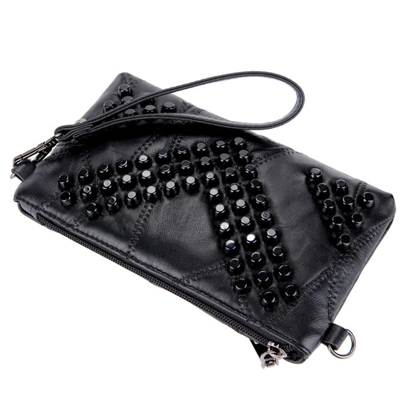 VIVAO Genuine Leather Women's Clutch Purse - 1 Pair 3D Magnetic False Eyelashes
