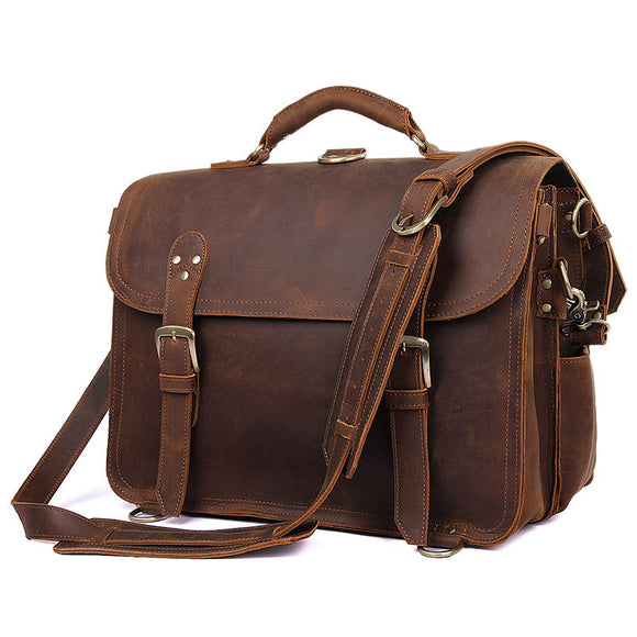 VIVAO - Brand Men Crazy Horse Leather Backpack Genuine Cowhide 16 inch Laptop Rucksack Vintage Handmade Messenger Shoulder Bag 7370 - 1 Pair 3D Magnetic False Eyelashes