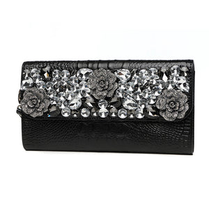 2017 New Womens Banquet Diamond Clutch Bag Ladies Purse Shoulder Bag Handbag Famous Brand Genuine Leather Serpentine Long Wallet - VIVAO