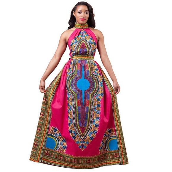 VIVAO African Print Maxi Dress, African Traditional Clothing, Dashiki Dress - 1 Pair 3D Magnetic False Eyelashes