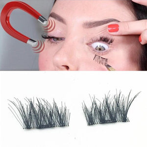 4pcs (1 Pair) Magnetic Eye Lashes 3D Reusable False Magnet Eyelashes Extension Drop shipping - 1 Pair 3D Magnetic False Eyelashes