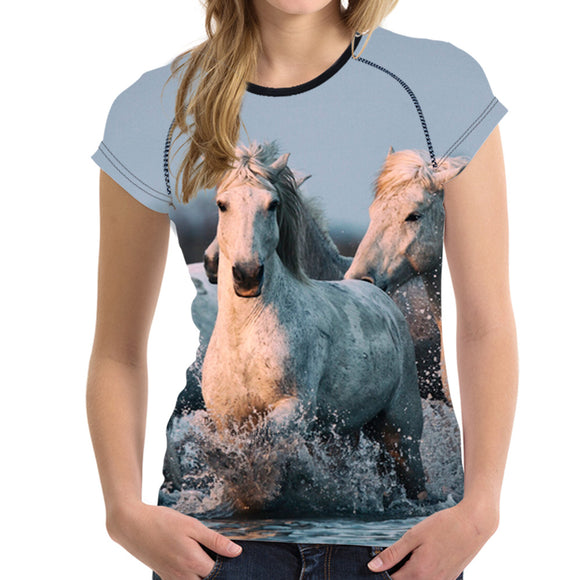 VIVAO Sweet & Lovely Horse Print T-Shirt - 1 Pair 3D Magnetic False Eyelashes