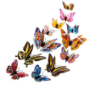 12pcs 3D Butterfly Design Decal Art Wall Stickers - 1 Pair 3D Magnetic False Eyelashes