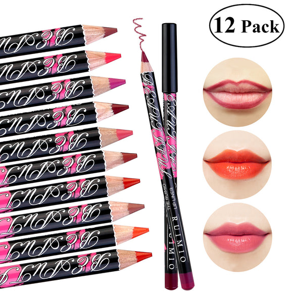VIVAO - 12 Color Lip Pencil - Soft Waterproof Smooth Lip Liner/Lipliner Pen - 1 Pair 3D Magnetic False Eyelashes