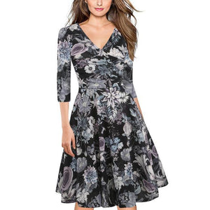 VIVAO Classy Ladies Floral Print V-Neck Three-Quarter Dress - 1 Pair 3D Magnetic False Eyelashes