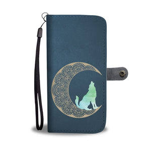 Wolf Moon Mandala - Wallet Phone Case - Wallet Case - PurpliKi