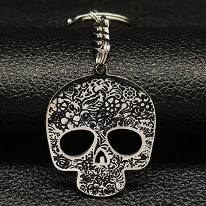 Black Skull Stainless Steel Key Chain - Keychain - PurpliKi