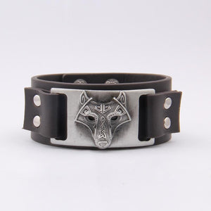Leather Wolf Cuff Bracelet - Bracelet - PurpliKi