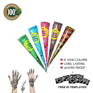 Natural Henna Temporary Tattoo Kit  With 63 Templates - Beauty - PurpliKi