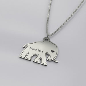 Personalized Elephant Necklace - Sterling Silver - pendant - PurpliKi