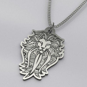 Mandala Lion - Silver Necklace - pendant - PurpliKi