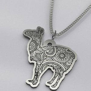 Mandala Llama - Silver Necklace - pendant - PurpliKi
