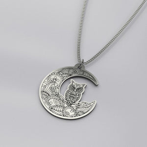 Mandala Moon Owl - Silver Necklace - pendant - PurpliKi