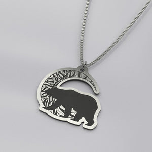 Bear Moon - Silver Necklace - pendant - PurpliKi