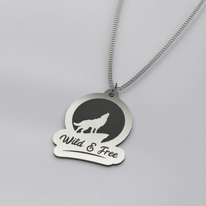 Wild and Free Wolf - Silver Necklace - pendant - PurpliKi