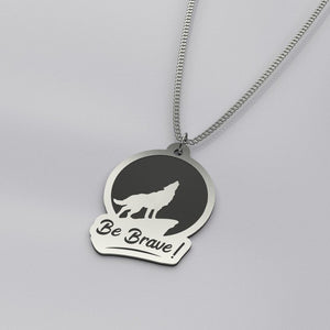 Be Brave Wolf - Silver Necklace - pendant - PurpliKi
