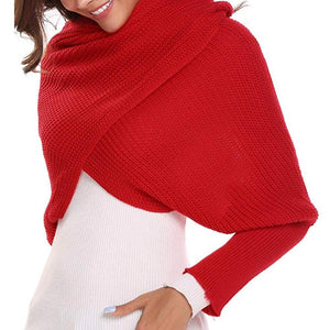 Autumn&Winter Fashion Crochet Knitted Scarf Shawl with Sleeves - - PurpliKi