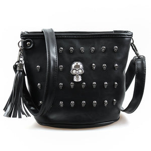 Skull Face Leather Shoulder Bag - Shoulder Bags - PurpliKi
