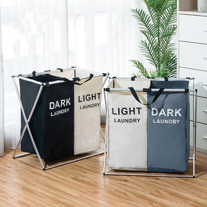 Laundry Sorter Hamper - Divided Laundry Basker for Light and Dark Clothes - Storage Baskets - PurpliKi