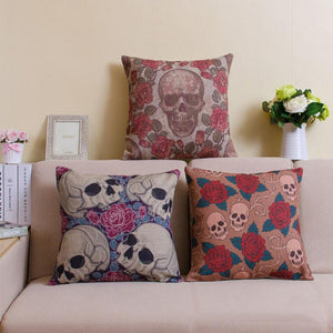 Flower Skull Series - Cushion Cover - Cushion - PurpliKi