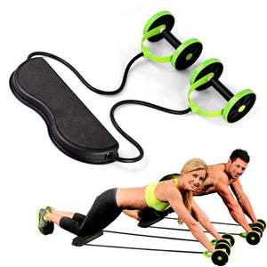 Gym Muscle Exercise Equipment Home Fitness Equipment Double Wheel Abdominal Power Wheel Ab Roller Gym Roller Trainer Training - Ab Rollers - PurpliKi
